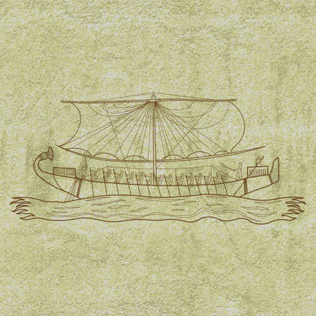 fresco: Ancient limestone mural showing Egyptian papyrus boat floating in the sea