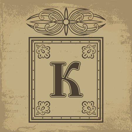 古いロシア スタイルのベクトル図の大文字 K  イラスト・ベクター素材