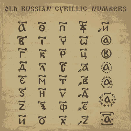 cyrillic: Set of hand drawn vector old russian cyrillic numbers used as a counting system in the past
