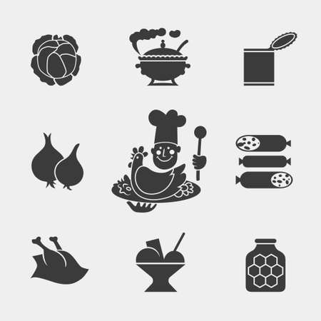 Set of monochrome food icons with chef chicken soup cabbage sausage onion honey ice cream and canned Vector
