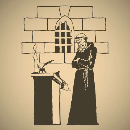 Medieval monk creating an epic chronicle by candlelight in dark cell of monastery illustration Ilustração