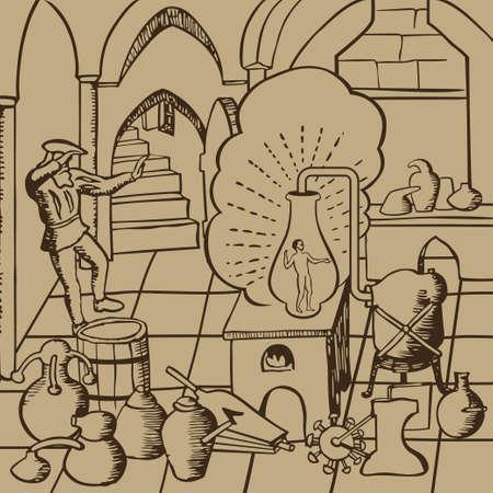 Middeleeuwse alchemist het uitvoeren van experimenten van de schepping leven kunstmatig in het laboratorium met de container, flessen, drankjes en andere accessoires illustratie Stock Illustratie