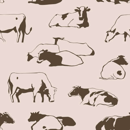Herd of cows seamless pattern with standing, lying, relaxing and nipping the grass stylized cows in different poses
