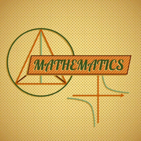 axiom: Retro style mathematics title with stylized graphs and functions illustration