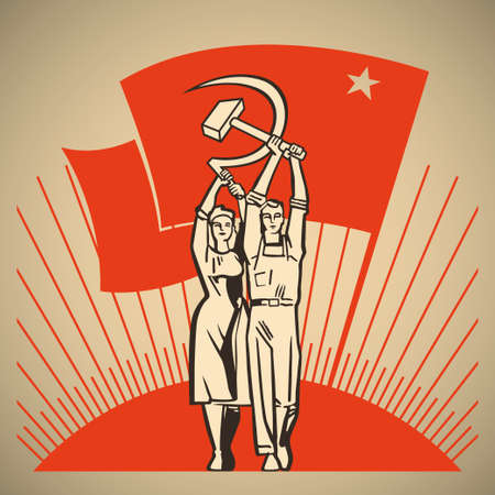 Happy man and woman together holding in their hands labour tools hammer and sickle on the background of the rising sun and waving socialism flag illustration Иллюстрация