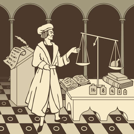 Medieval Italian scientist conducting research and making discoveries in his laboratory illustration Stock Illustratie