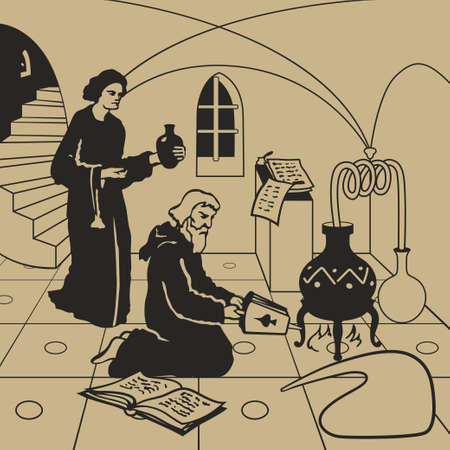 Medieval alchemists carrying out experiments in the laboratory with cauldron, bottles, potions and old books illustration