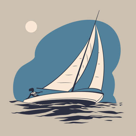 sea waves: Girl riding on a sailing boat on the sea waves vector illustration