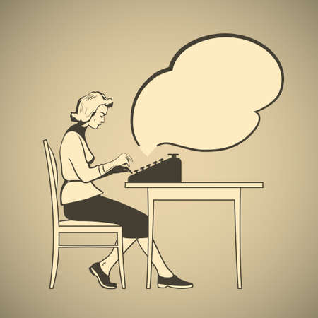 typewriter: Old-fashioned young woman sitting on a chair and typing on a typewriter retro style vector illustration with empty text cloud Illustration