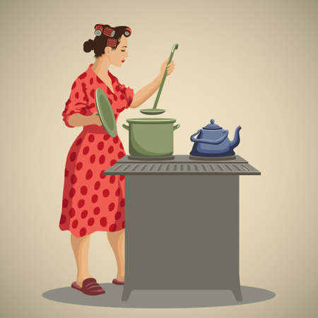 soup pot: Young woman housewife dressed in vintage morning gown cooking and tasting food in kitchen retro style vector illustration