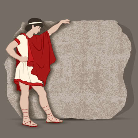 Young Greek standing at a piece of stone block going to carve something significant vector illustration Çizim