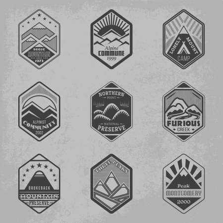Set of alpinist and mountain climbing outdoor activity vector logos. Logotype templates and badges with mountains, peaks, creeks, trees, sun, tent. National parks and nature exploration symbols Vector