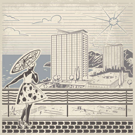 exciting: Young bronzed girl in a light summer dress with parasol standing on the seafront of resort town and watching the exciting view of seaside with hotels and entertainments retro vector illustration