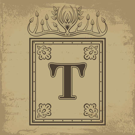 slavic: Capital letter T in old Russian style vector illustration