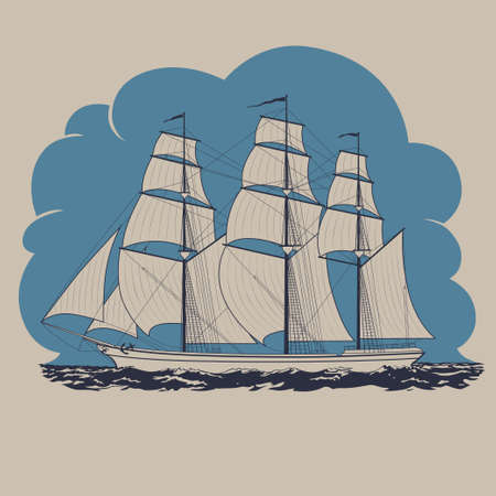 schooner: Three-masted sailing ship traveling in the sea and having tour to distant lands and countries vector illustration