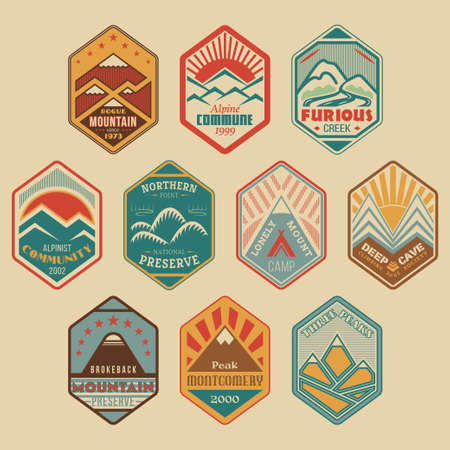 Set of retro-colored alpinist and mountain climbing outdoor activity vector .  templates and badges with mountains, peaks, creeks, trees, sun, tent. National parks and nature exploration symbols