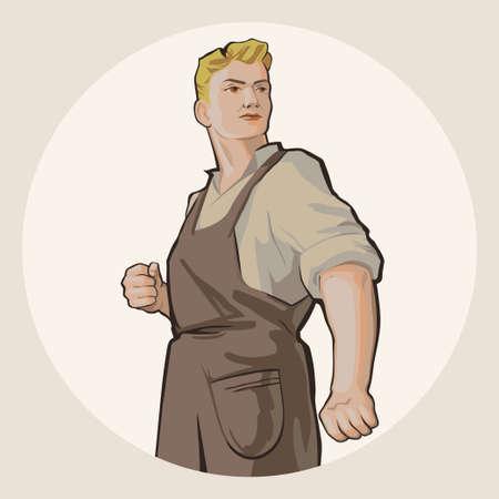 결정된: 흰색 배경 복고풍 벡터 일러스트 레이 션에 고립 된 작업복 결정 젊은 금발 남자