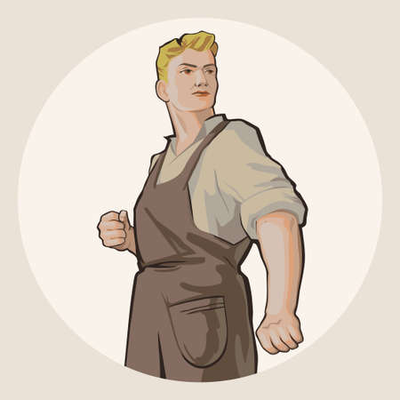worker construction: Determined young blond man in working clothes isolated on white background retro vector illustration