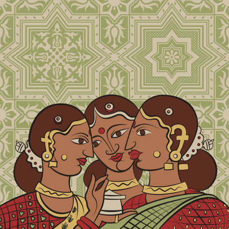 saree: Indian girls in traditional sari costumes talking on ornamental lace ethnic pattern background retro vector illustration