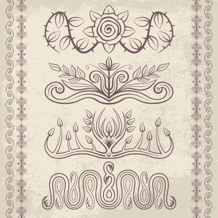 ornaments floral: Set of vector decorative ornaments. Floral and abstract design pattern elements and symbols for posters, postcards, page decoration and typography