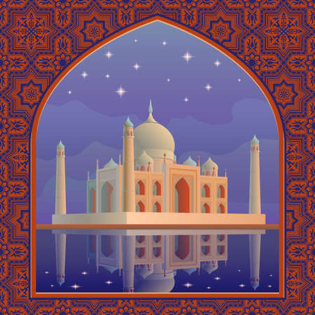 mumtaz: Indian showplace and symbol white marble mausoleum Taj Mahal against the night sky with stars reflecting in the water postcard vector illustration template