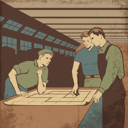 laborious: Group of workers having a meeting after work in the plant retro vector illustration Illustration