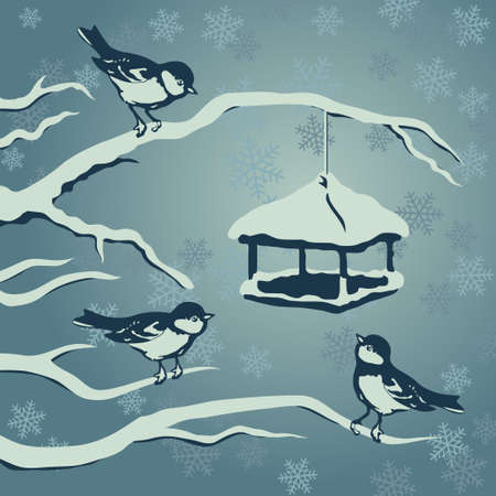 small flock: Group of titmouses gathering at the feeder in winter Christmas evening with falling snowflakes vector illustration Illustration