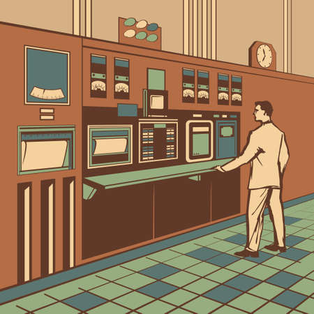 vector control illustration: Operator standing at the dashboard with many buttons and monitors in control room of large industrial manufacture stylized retro vector illustration Illustration