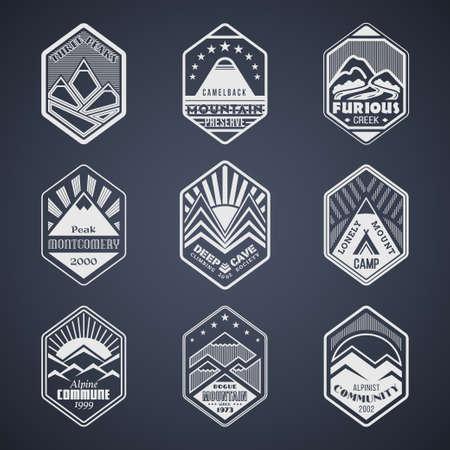 rock logo: Conjunto de actividad alpinista y escalada de monta�a vector al aire libre en negro.