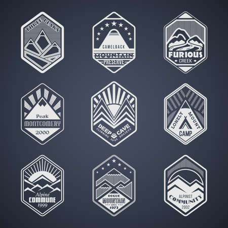 alpinist: Set of alpinist and mountain climbing outdoor activity vector on black.