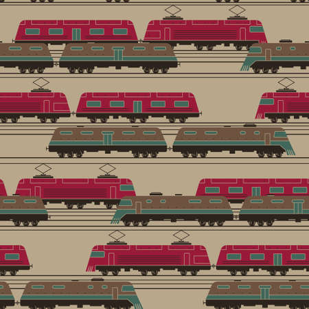 moving activity: Stylized trains with wagons moving activity on railway junction seamless vector pattern