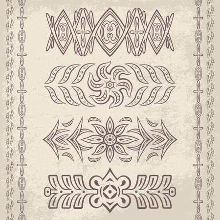 scroll shape: Set of vector decorative ornaments. Floral and abstract design pattern elements and symbols for posters, postcards, page decoration and typography