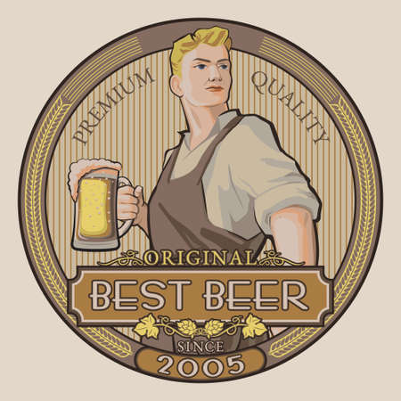 german tradition: Determined young man in working clothes holding pint of beer vector label design.  and badge template for breweries, pubs, brasseries, brew houses and beer bars isolated on white background