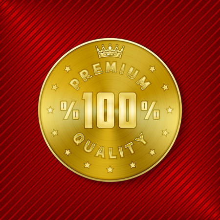 awarded: Golden round premium quality design concentric circle pattern textured metal badge for product promotion and advertising on luxury red striped background vector illustration Illustration