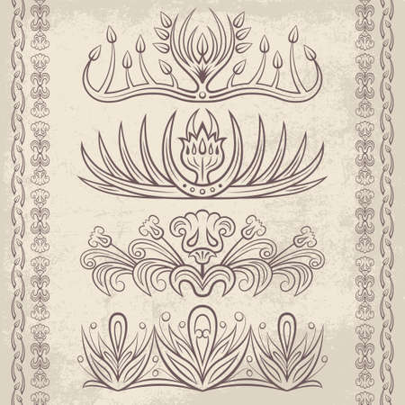 lace filigree: Set of vector decorative ornaments. Floral and abstract design pattern elements and symbols for posters, postcards, page decoration and typography