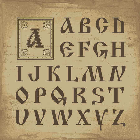 decorative element: Retro alphabet in old Russian style vector illustration Illustration