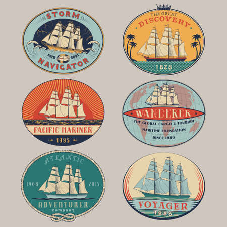 voyager: Set of nautical and maritime adventure vector color labels.Logotype templates and badges with ships,waves and design elements.Ocean and sea exploration,marine tourism and cargo transportation symbols