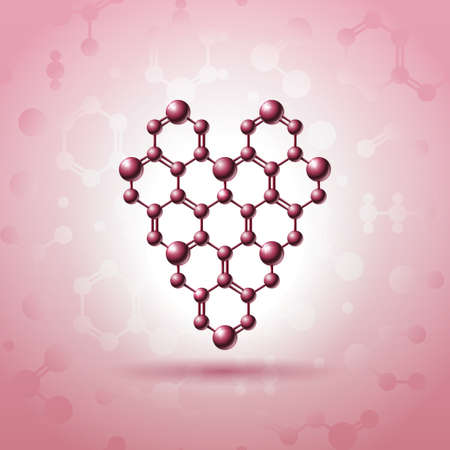 atomic structure: Heart shaped atomic structure with nuclear connections logo design.Saint Valentine