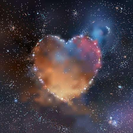 ディープ スペースのベクトル図の星、星雲や銀河のハート型クラスター