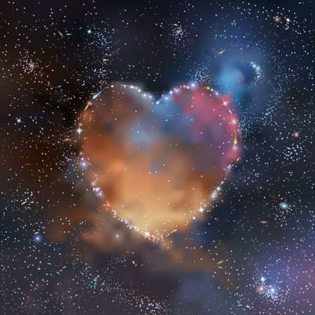 Stars, nebulas and galaxies heart shaped cluster in deep space vector illustration