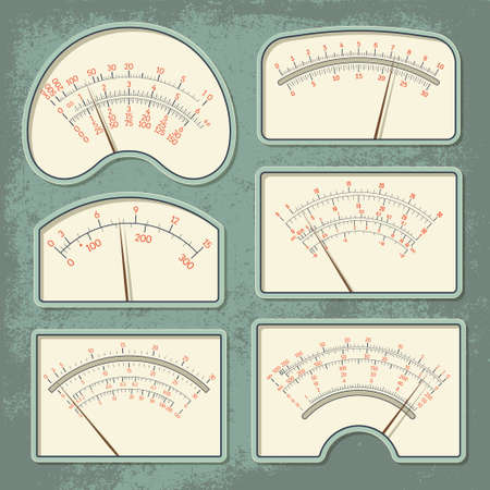 voltmeter: Set of various retro design vector panels and dashboards of measuring devices isolated on green aged scratched background