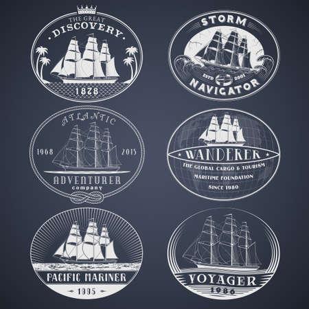 Ensemble de labels.templates et badges vecteur d'aventure nautiques et maritimes avec les navires, les vagues et d'autres le design elements.Ocean et l'exploration de la mer, le tourisme maritime et les symboles de transport de fret