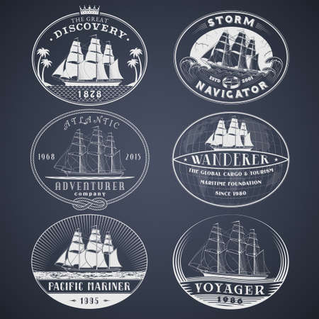 yacht: Set of nautical and maritime adventure vector labels.templates and badges with ships,waves and other design elements.Ocean and sea exploration,marine tourism and cargo transportation symbols