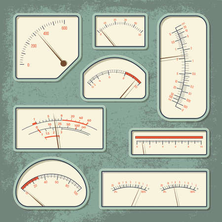amperage: Set of various retro design vector panels and dashboards of measuring devices isolated on green aged scratched background