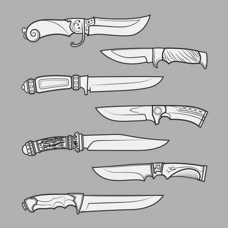 peeler: Set of various design hunting, combat and decorative bladed vector knives isolated on grey background. Detailed graphic symbols and elements collection