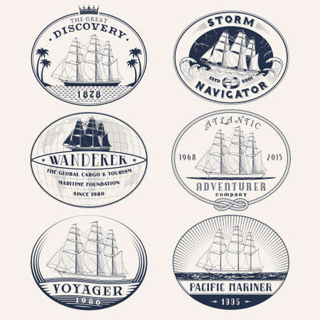 frigate: Set of nautical and maritime adventure vector labels.icon templates and badges with ships,waves and other design elements.Ocean and sea exploration,marine tourism and cargo transportation symbols