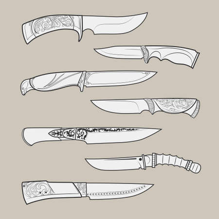 throwing knife: Set of various design hunting, combat and decorative bladed vector knives isolated on beige background. Detailed graphic symbols and elements collection Illustration