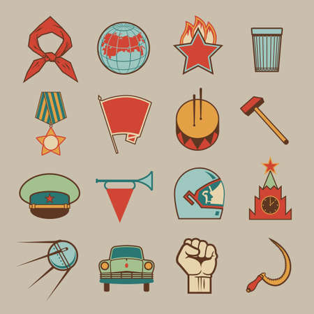 Set of various soviet style design colorful vector elements, symbols, icons and emblems isolated on beige background. Russian socialistic culture retro collection