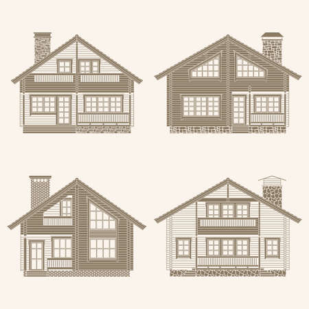 lodge: Set of vector facades of log houses.Classic wooden residential chalets architectural symbols and design elements.Detailed collection for product promotion and advertising isolated on white background