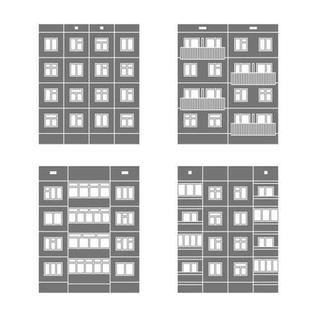 extensive: Set of vector facades of panel houses.Classic blocks of flats architectural symbols and design elements.Detailed collection for product promotion and advertising isolated on white background
